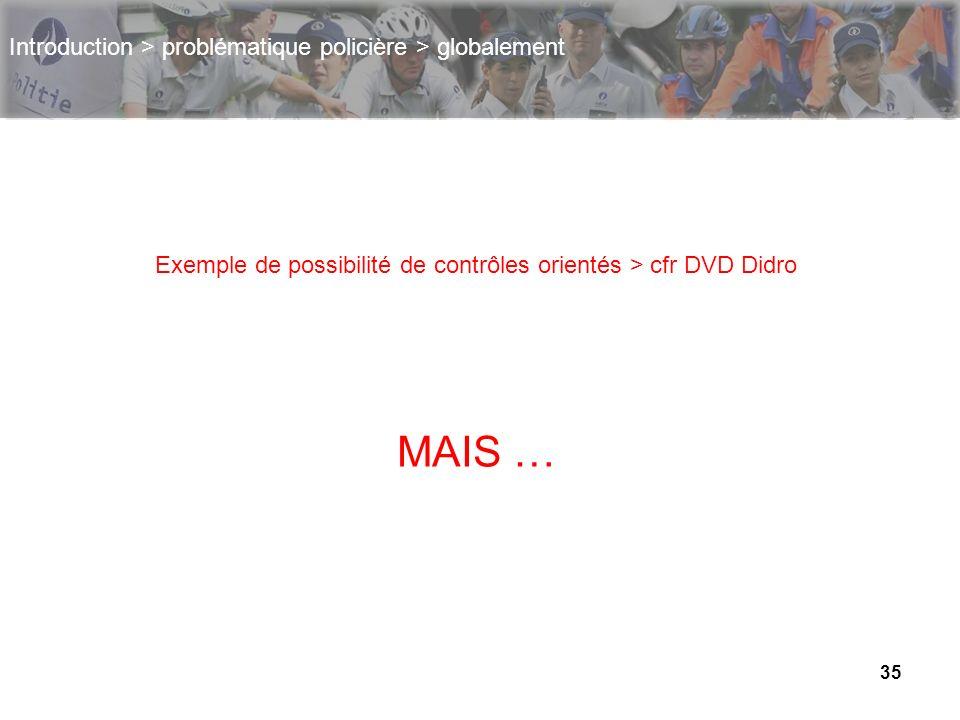 35 Introduction > problématique policière > globalement Exemple de possibilité de contrôles orientés > cfr DVD Didro MAIS …