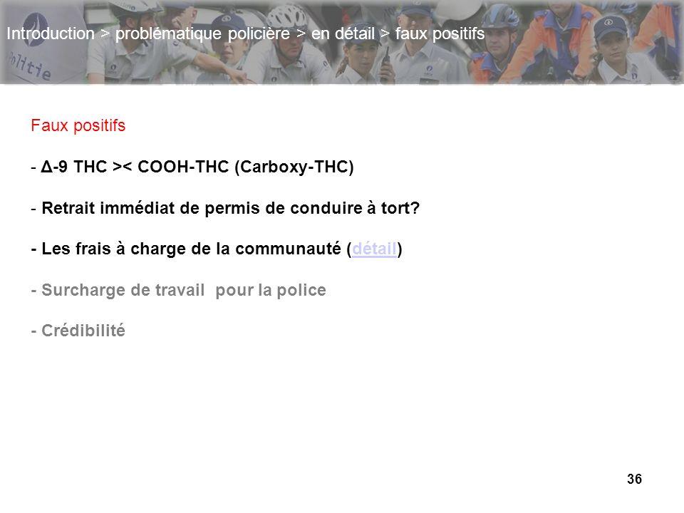 36 Introduction > problématique policière > en détail > faux positifs Faux positifs - Δ-9 THC >< COOH-THC (Carboxy-THC) - Retrait immédiat de permis d