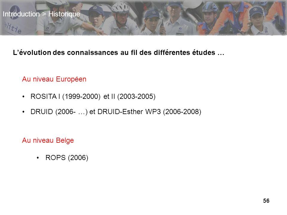 56 Introduction > Historique Lévolution des connaissances au fil des différentes études … Au niveau Européen ROSITA I (1999-2000) et II (2003-2005) DR