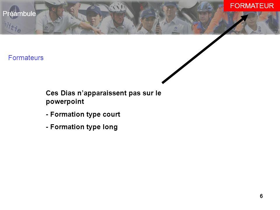 6 Préambule Formateurs FORMATEUR Ces Dias napparaissent pas sur le powerpoint - Formation type court - Formation type long