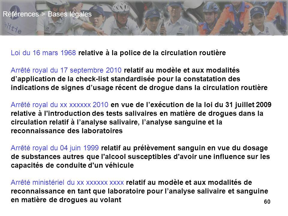 60 Références > Bases légales Loi du 16 mars 1968 relative à la police de la circulation routière Arrêté royal du 17 septembre 2010 relatif au modèle