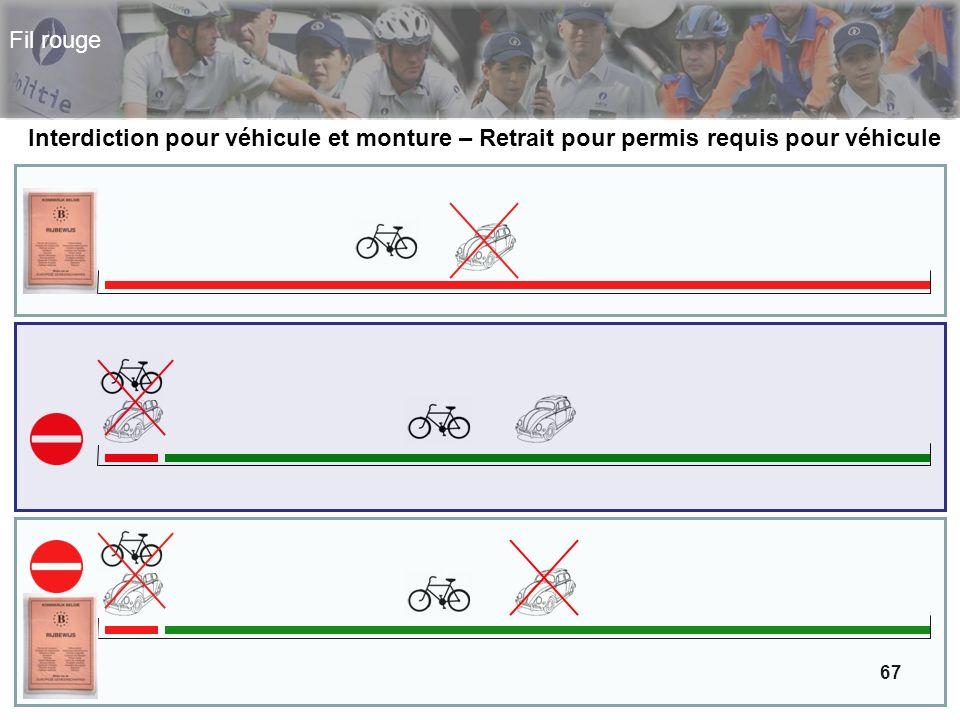 67 Fil rouge Interdiction pour véhicule et monture – Retrait pour permis requis pour véhicule