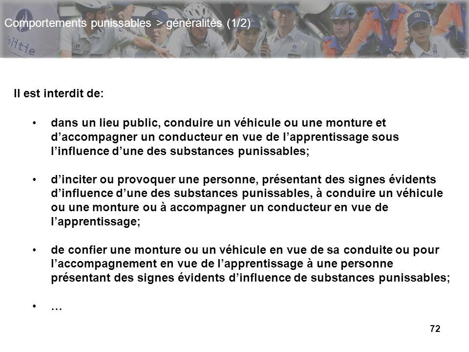 72 Comportements punissables > généralités (1/2) Il est interdit de: dans un lieu public, conduire un véhicule ou une monture et daccompagner un condu