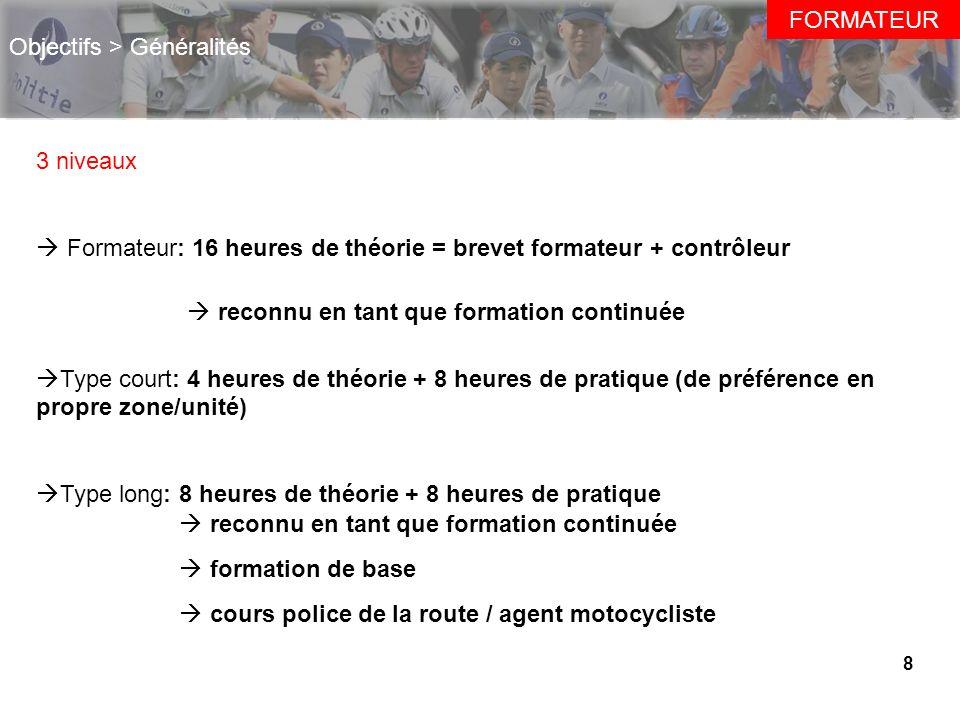 8 Objectifs > Généralités 3 niveaux Formateur: 16 heures de théorie = brevet formateur + contrôleur Type court: 4 heures de théorie + 8 heures de prat