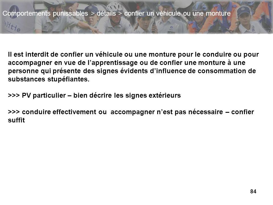 84 Comportements punissables > détails > confier un véhicule ou une monture Il est interdit de confier un véhicule ou une monture pour le conduire ou