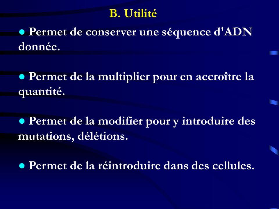 B. Utilité Permet de conserver une séquence d'ADN donnée. Permet de la multiplier pour en accroître la quantité. Permet de la modifier pour y introdui