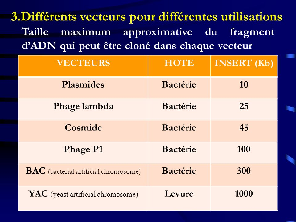 3.Différents vecteurs pour différentes utilisations VECTEURSHOTEINSERT (Kb) PlasmidesBactérie10 Phage lambdaBactérie25 CosmideBactérie45 Phage P1Bacté
