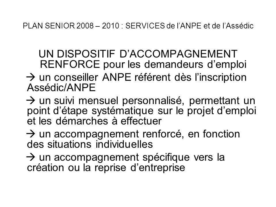 PLAN SENIOR 2008 – 2010 : SERVICES de lANPE et de lAssédic DES MESURES POUR FACILITER LEMBAUCHE DES SENIORS le Contrat initiative emploi (CIE) le Contrat Insertion-Revenu Minimum dActivité (CI-RMA) lAide dégressive à lemployeur (ADE) le Contrat de professionnalisation lAction de formation préalable à lembauche / lAction préparatoire au recrutement lAide différentielle de reclassement, et lactivité réduite
