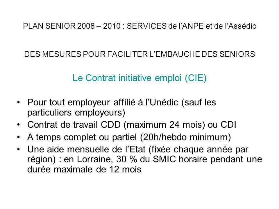 PLAN SENIOR 2008 – 2010 : SERVICES de lANPE et de lAssédic DES MESURES POUR FACILITER LEMBAUCHE DES SENIORS Le Contrat Insertion–Revenu Minimum dActivité (CI-RMA) Concerne lembauche de personnes bénficiaires dun minimum social (RMI, ASS, AAH, API) Pour tout employeur affilié à lUnédic (sauf les particuliers employeurs) Contrat de travail CDD (de 6 à 18 mois) ou CDI A temps complet ou partiel (20h/hebdo minimum) Une aide mensuelle du Département (RMI) ou de lEtat (ASS-AAH-API) égale au forfait mensuel du RMI (environ 440 )