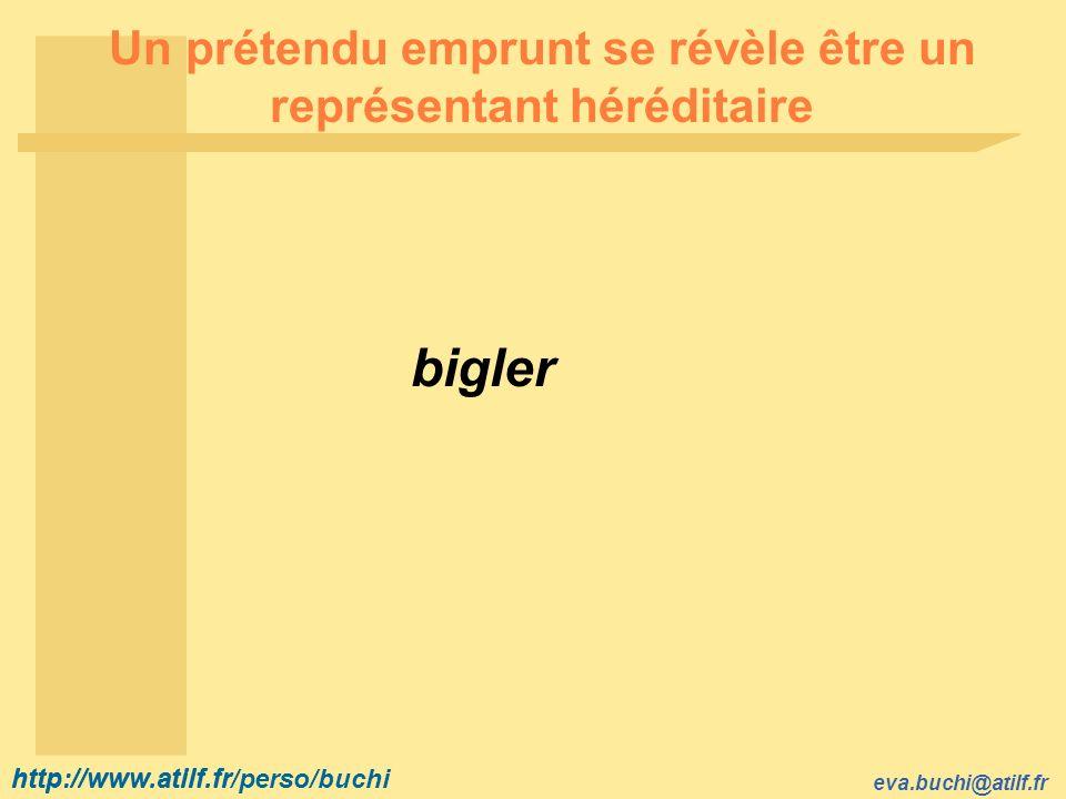 http://www.atilf.fr eva.buchi@atilf.fr http://www.atilf.fr/perso/buchi Un prétendu emprunt se révèle être un représentant héréditaire bigler