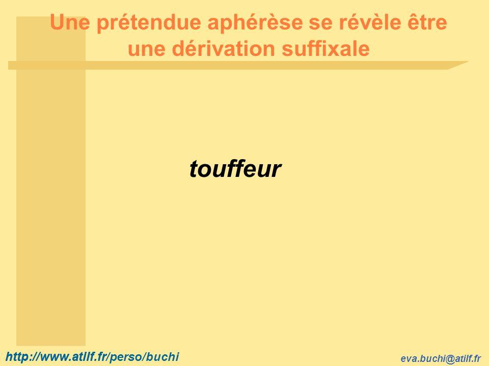 http://www.atilf.fr eva.buchi@atilf.fr http://www.atilf.fr/perso/buchi Une prétendue aphérèse se révèle être une dérivation suffixale touffeur