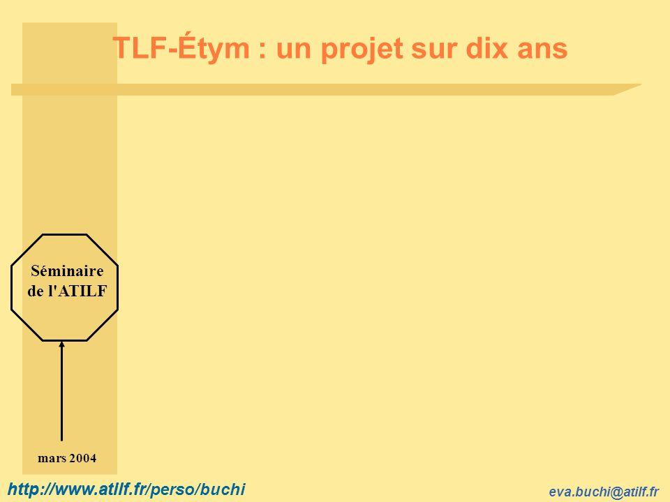http://www.atilf.fr eva.buchi@atilf.fr http://www.atilf.fr/perso/buchi TLF-Étym : un projet sur dix ans Séminaire de l ATILF mars 2004