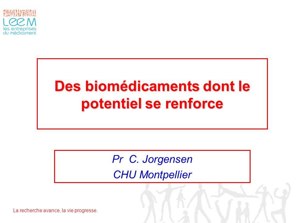 La recherche avance, la vie progresse. Des biomédicaments dont le potentiel se renforce Pr C. Jorgensen CHU Montpellier