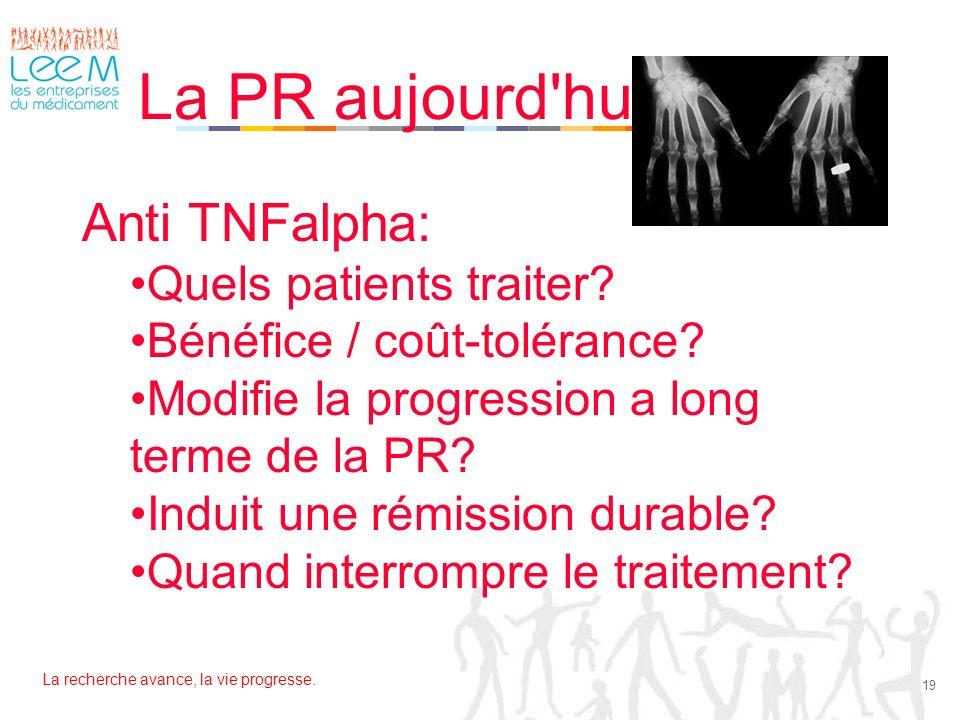 La recherche avance, la vie progresse. 19 La PR aujourd'hui Anti TNFalpha: Quels patients traiter? Bénéfice / coût-tolérance? Modifie la progression a