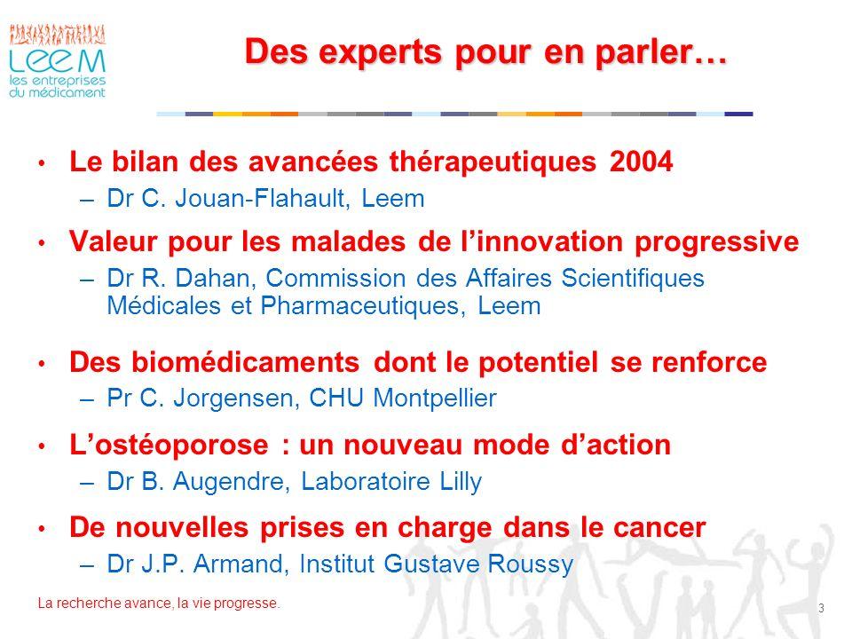 La recherche avance, la vie progresse. 3 Des experts pour en parler… Le bilan des avancées thérapeutiques 2004 –Dr C. Jouan-Flahault, Leem Valeur pour