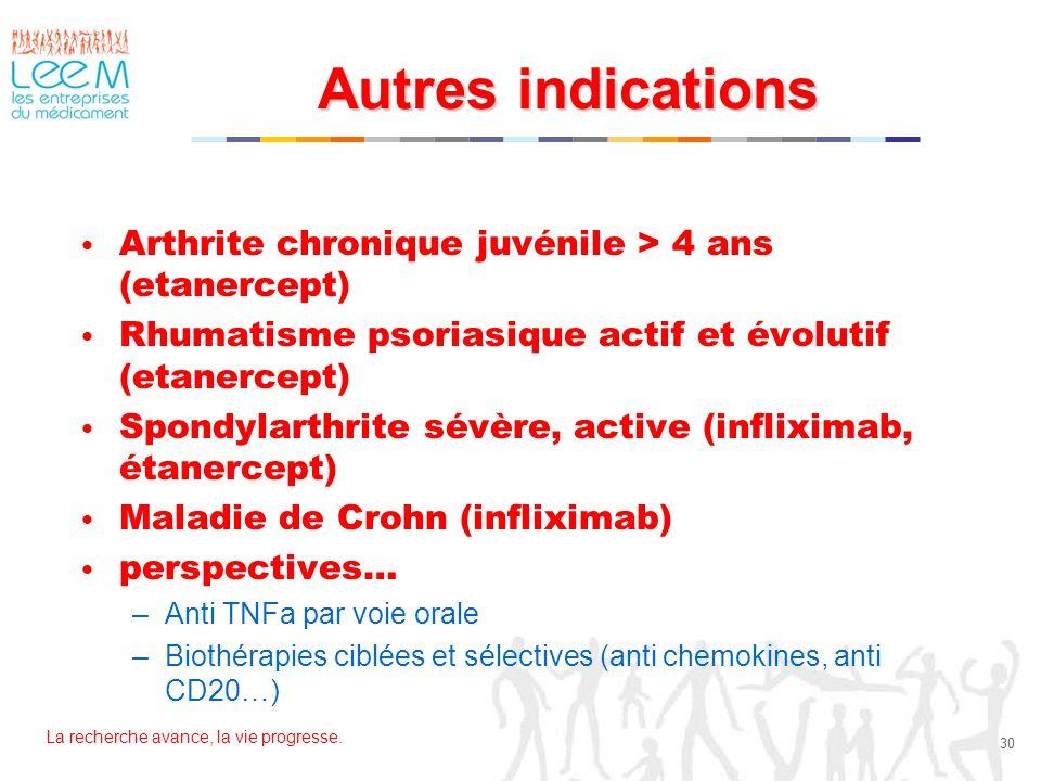 La recherche avance, la vie progresse. 30 Autres indications Arthrite chronique juvénile > 4 ans (etanercept) Rhumatisme psoriasique actif et évolutif