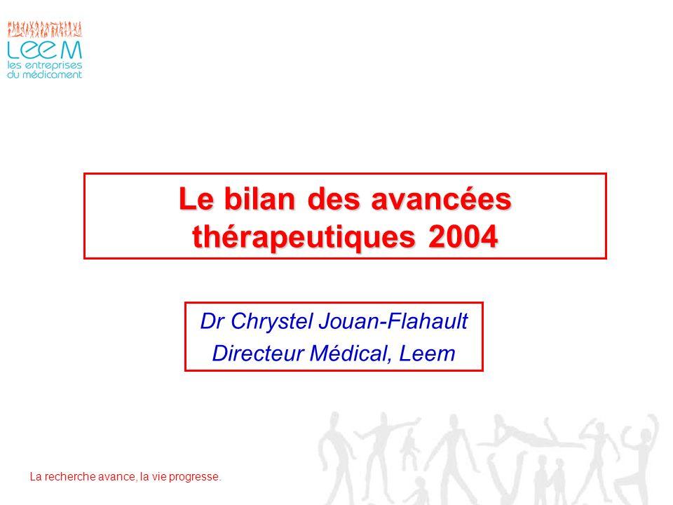 La recherche avance, la vie progresse. Le bilan des avancées thérapeutiques 2004 Dr Chrystel Jouan-Flahault Directeur Médical, Leem