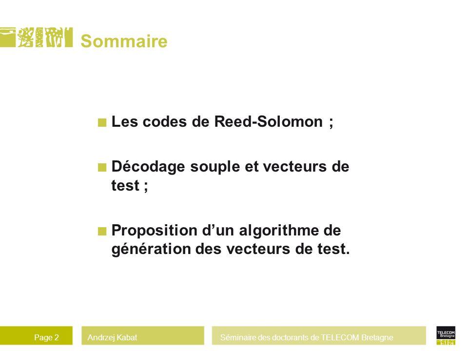 Andrzej KabatSéminaire des doctorants de TELECOM BretagnePage 2 Sommaire Les codes de Reed-Solomon ; Décodage souple et vecteurs de test ; Proposition dun algorithme de génération des vecteurs de test.