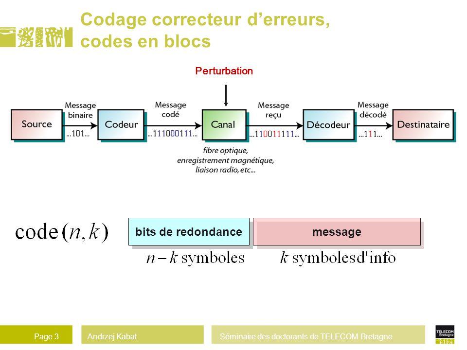Andrzej KabatSéminaire des doctorants de TELECOM BretagnePage 3 Perturbation Codage correcteur derreurs, codes en blocs messagebits de redondance