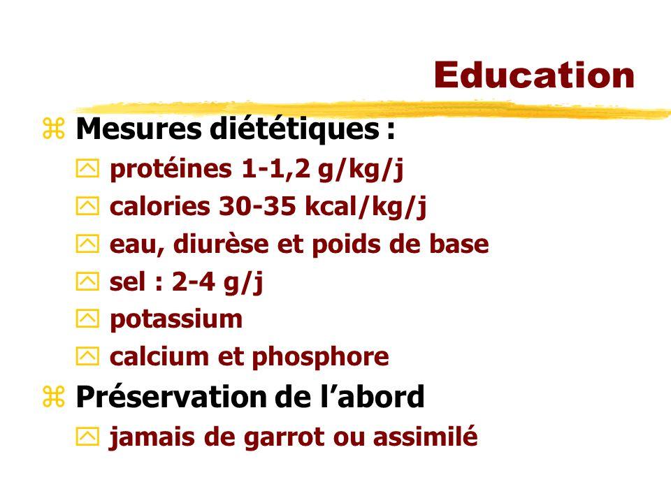 Education z Mesures diététiques : y protéines 1-1,2 g/kg/j y calories 30-35 kcal/kg/j y eau, diurèse et poids de base y sel : 2-4 g/j y potassium y calcium et phosphore z Préservation de labord y jamais de garrot ou assimilé