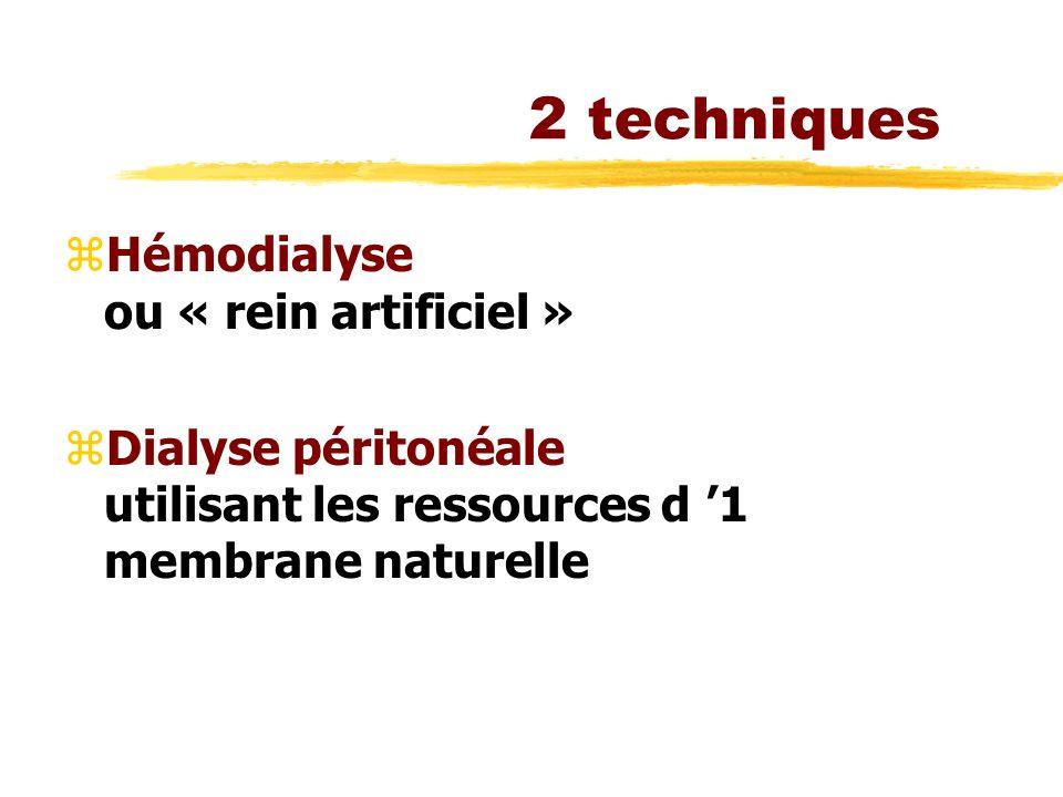 2 techniques zHémodialyse ou « rein artificiel » zDialyse péritonéale utilisant les ressources d 1 membrane naturelle
