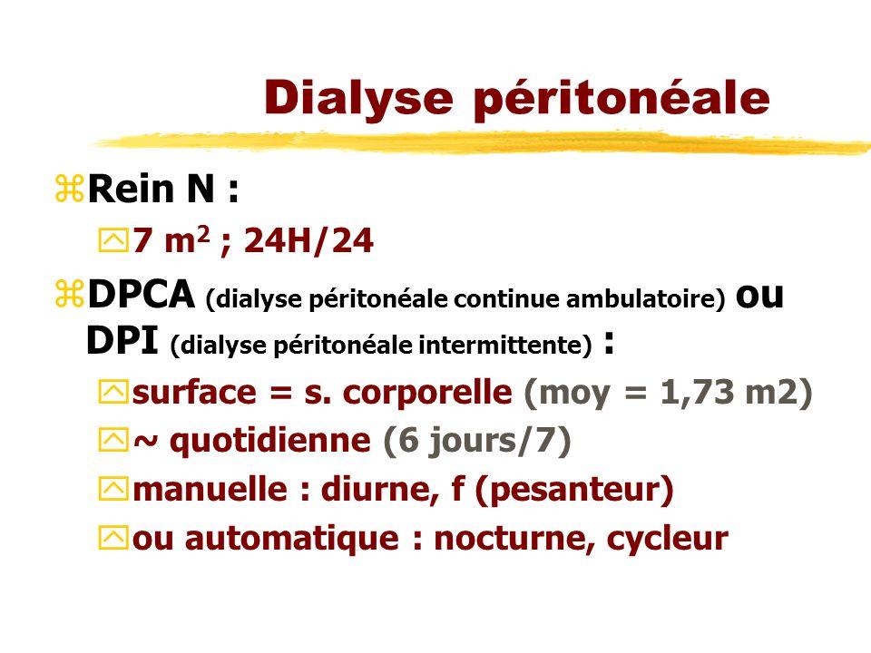 Dialyse péritonéale zRein N : y7 m 2 ; 24H/24 zDPCA (dialyse péritonéale continue ambulatoire) ou DPI (dialyse péritonéale intermittente) : ysurface = s.