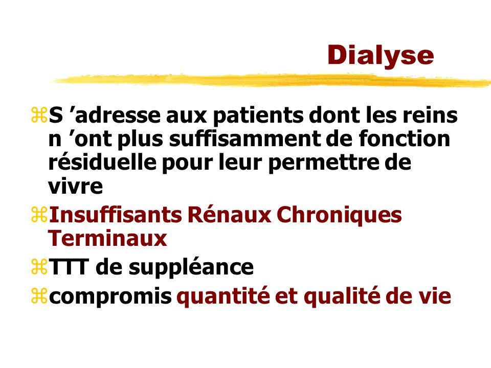 Dialyse zS adresse aux patients dont les reins n ont plus suffisamment de fonction résiduelle pour leur permettre de vivre zInsuffisants Rénaux Chroniques Terminaux zTTT de suppléance zcompromis quantité et qualité de vie
