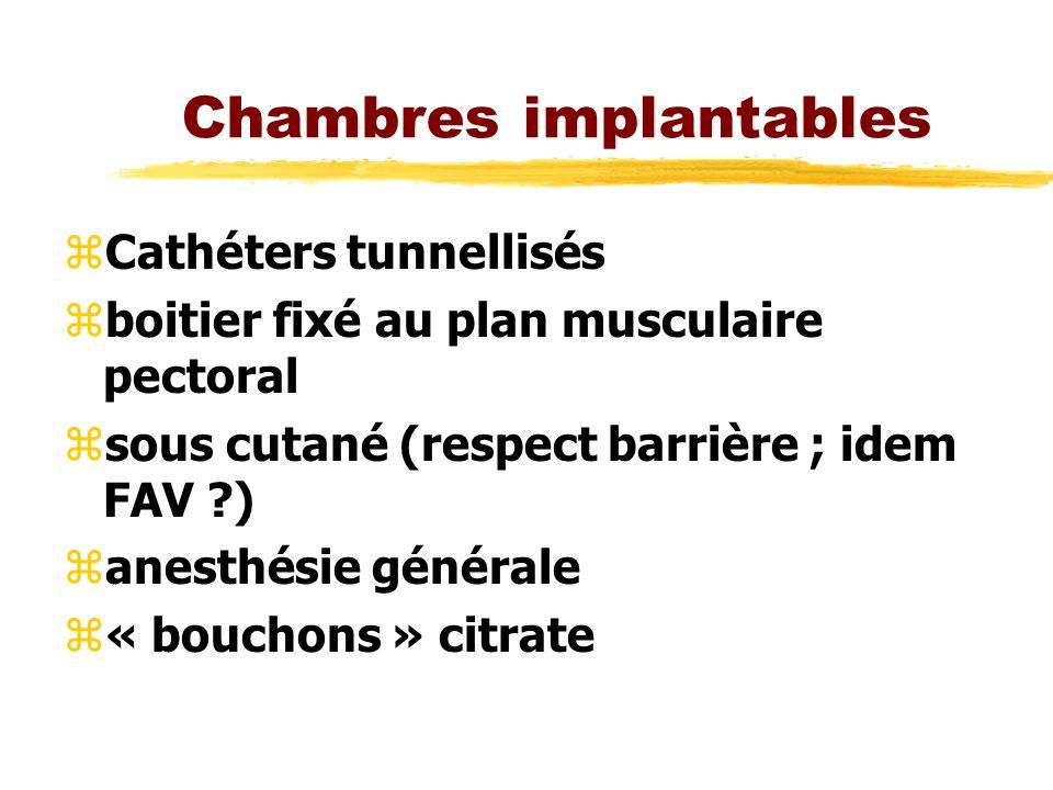 Chambres implantables zCathéters tunnellisés zboitier fixé au plan musculaire pectoral zsous cutané (respect barrière ; idem FAV ?) zanesthésie générale z« bouchons » citrate