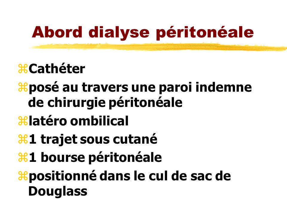 Abord dialyse péritonéale zCathéter zposé au travers une paroi indemne de chirurgie péritonéale zlatéro ombilical z1 trajet sous cutané z1 bourse péri