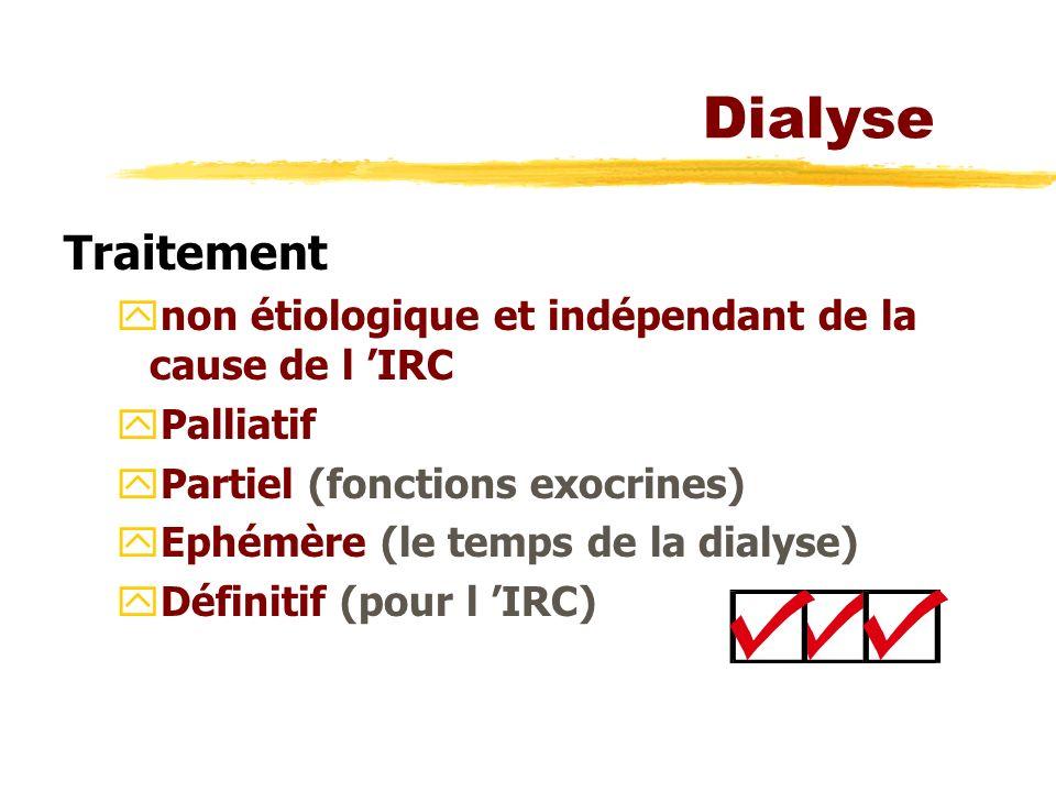 Dialyse Traitement ynon étiologique et indépendant de la cause de l IRC yPalliatif yPartiel (fonctions exocrines) yEphémère (le temps de la dialyse) yDéfinitif (pour l IRC)