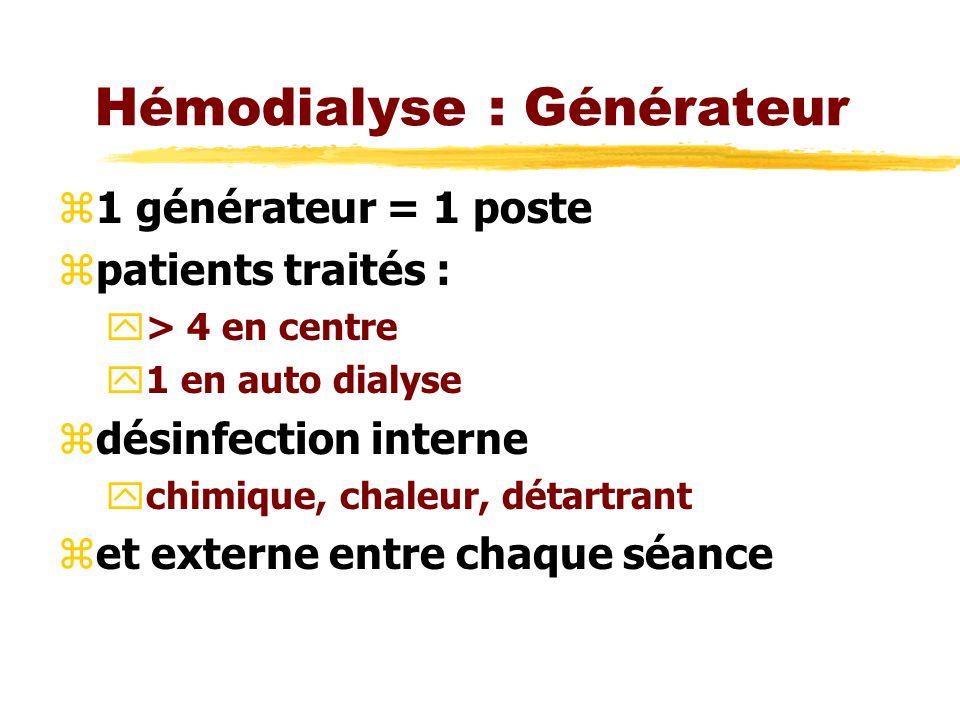 Hémodialyse : Générateur z1 générateur = 1 poste zpatients traités : y> 4 en centre y1 en auto dialyse zdésinfection interne ychimique, chaleur, détartrant zet externe entre chaque séance