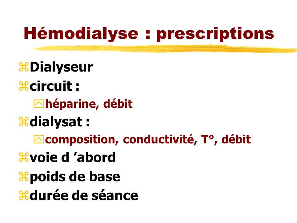 Hémodialyse : prescriptions zDialyseur zcircuit : yhéparine, débit zdialysat : ycomposition, conductivité, T°, débit zvoie d abord zpoids de base zdurée de séance