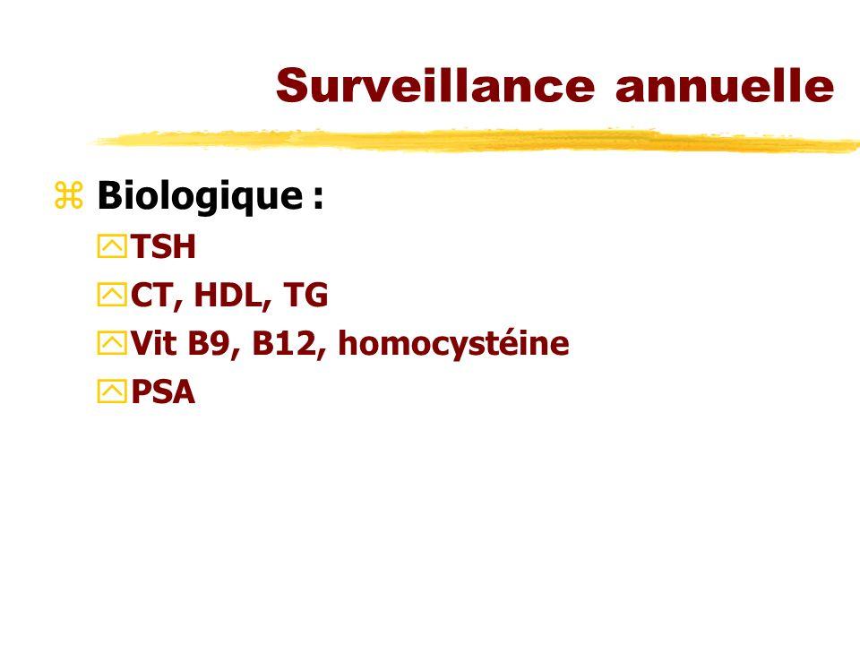 Surveillance annuelle z Biologique : yTSH yCT, HDL, TG yVit B9, B12, homocystéine yPSA
