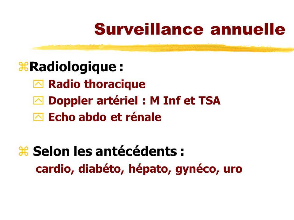 Surveillance annuelle zRadiologique : y Radio thoracique y Doppler artériel : M Inf et TSA y Echo abdo et rénale z Selon les antécédents : cardio, dia