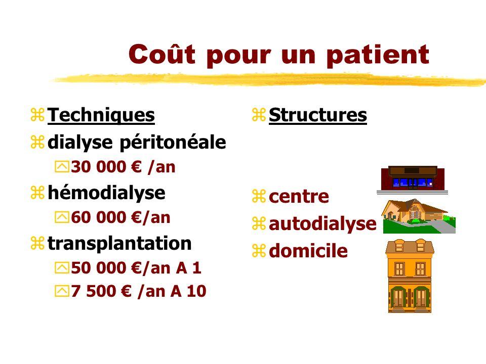Coût pour un patient zTechniques zdialyse péritonéale y30 000 /an zhémodialyse y60 000 /an ztransplantation y50 000 /an A 1 y7 500 /an A 10 z Structur