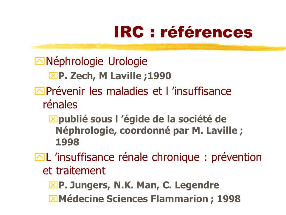 IRC : références yNéphrologie Urologie xP. Zech, M Laville ;1990 yPrévenir les maladies et l insuffisance rénales xpublié sous l égide de la société d