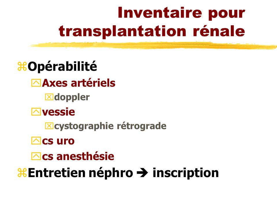 Inventaire pour transplantation rénale zOpérabilité yAxes artériels xdoppler yvessie xcystographie rétrograde ycs uro ycs anesthésie zEntretien néphro inscription