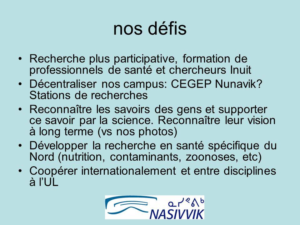 nos défis Recherche plus participative, formation de professionnels de santé et chercheurs Inuit Décentraliser nos campus: CEGEP Nunavik.