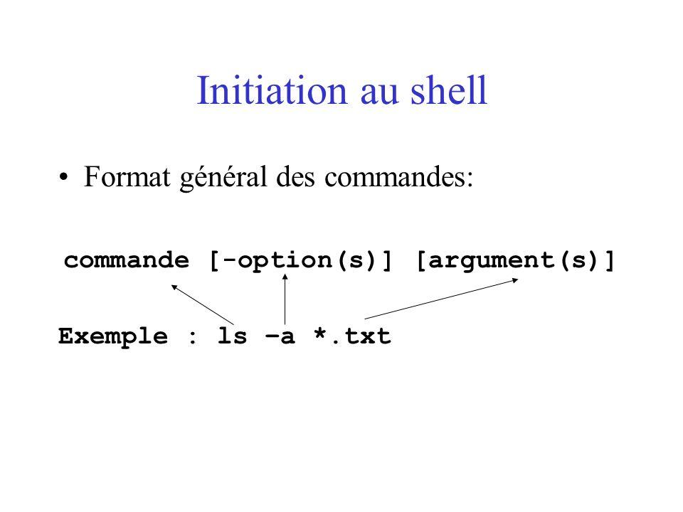 Initiation au shell Format général des commandes: commande [-option(s)] [argument(s)] Exemple : ls –a *.txt