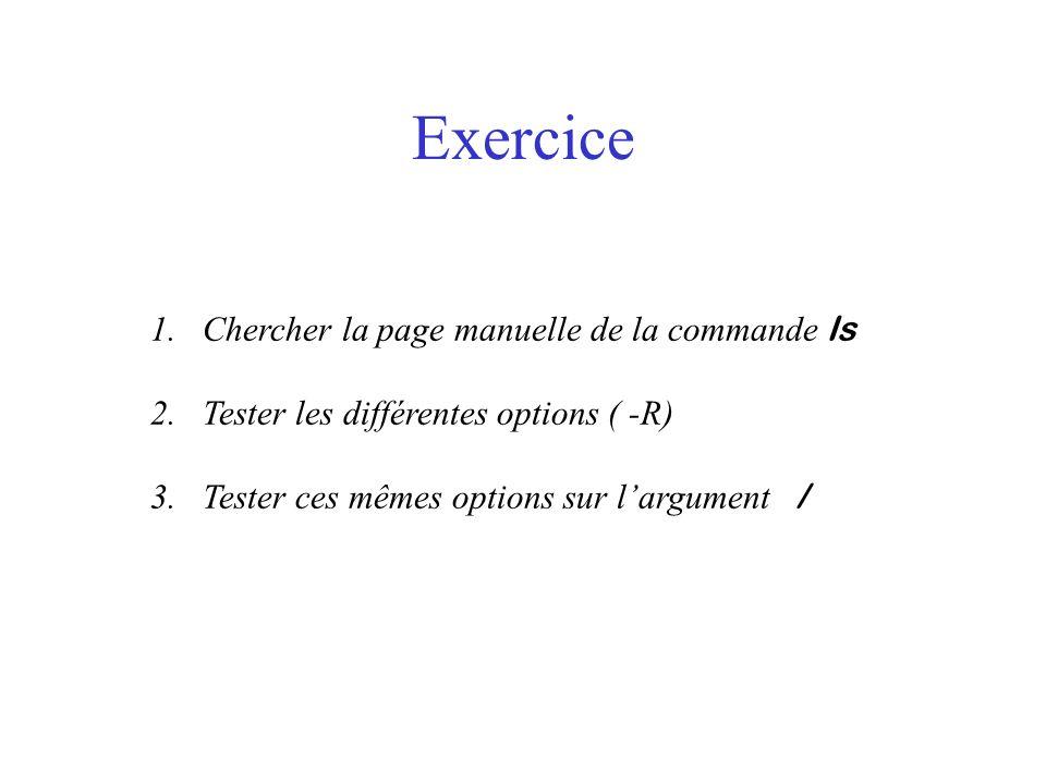 Exercice 1.Chercher la page manuelle de la commande ls 2.Tester les différentes options ( -R) 3.Tester ces mêmes options sur largument /