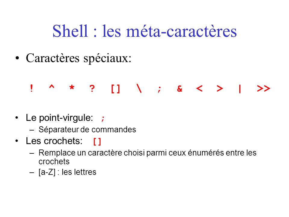 Shell : les méta-caractères Caractères spéciaux: ! ^ * ? [] \ ; & | >> Le point-virgule: ; –Séparateur de commandes Les crochets: [] –Remplace un cara