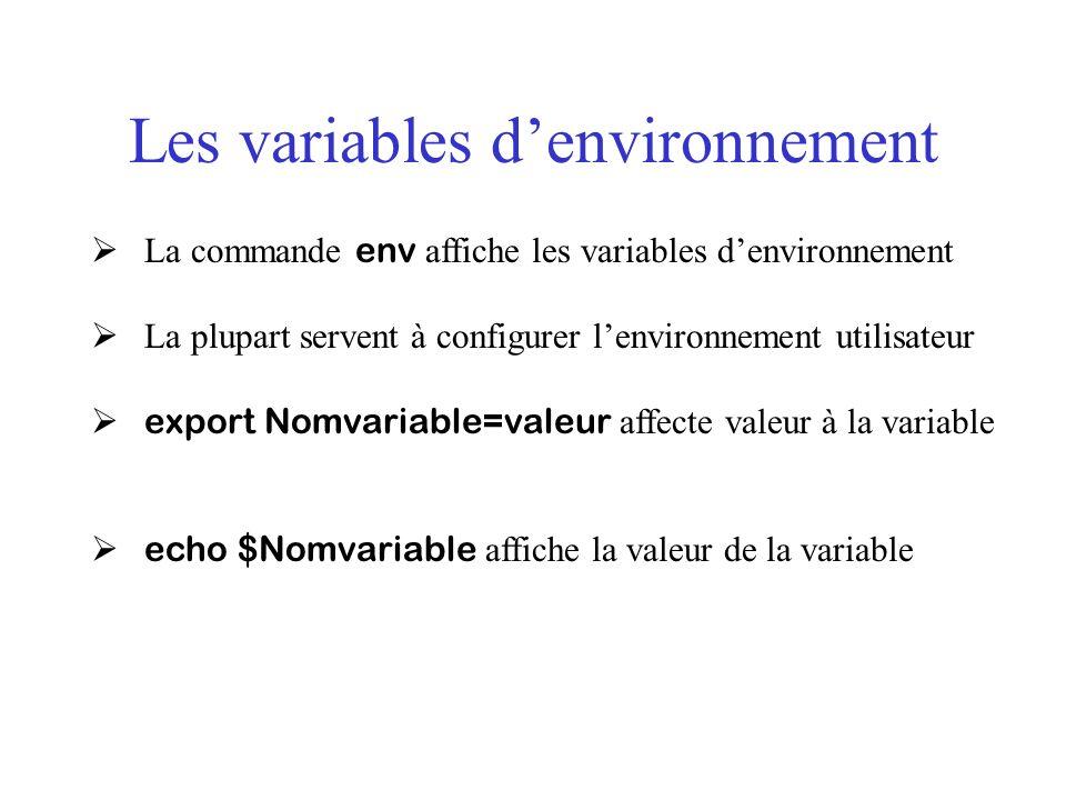 Les variables denvironnement La commande env affiche les variables denvironnement La plupart servent à configurer lenvironnement utilisateur export No