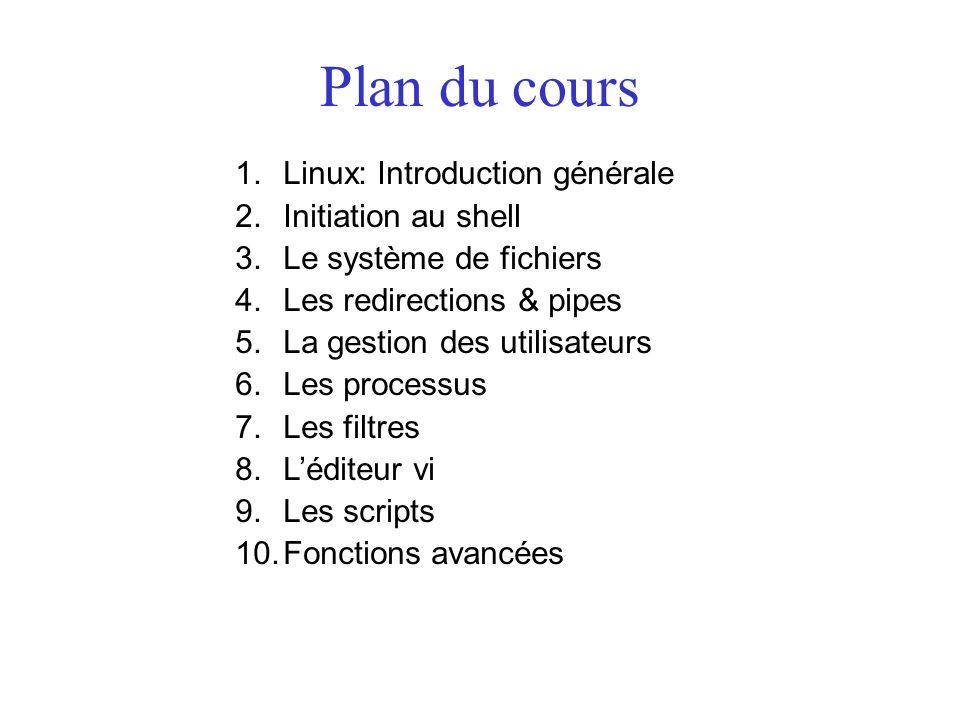 Plan du cours 1.Linux: Introduction générale 2.Initiation au shell 3.Le système de fichiers 4.Les redirections & pipes 5.La gestion des utilisateurs 6