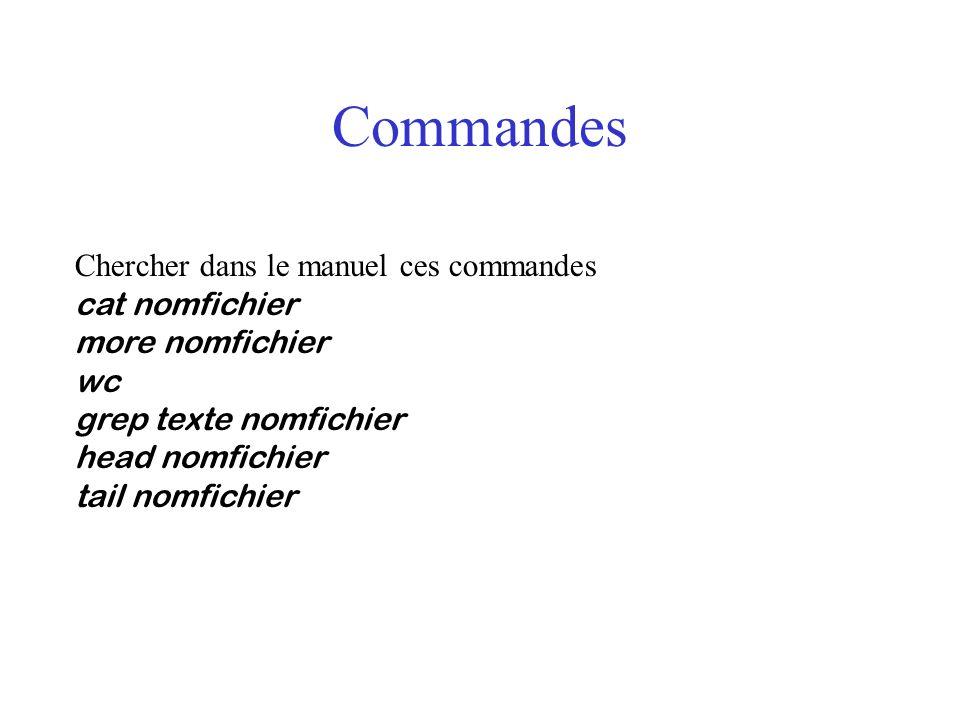 Commandes Chercher dans le manuel ces commandes cat nomfichier more nomfichier wc grep texte nomfichier head nomfichier tail nomfichier