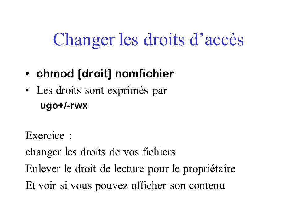Changer les droits daccès chmod [droit] nomfichier Les droits sont exprimés par ugo+/-rwx Exercice : changer les droits de vos fichiers Enlever le dro