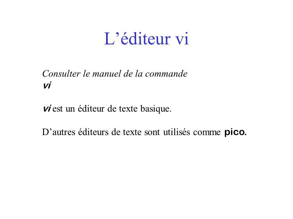 Léditeur vi Consulter le manuel de la commande vi vi est un éditeur de texte basique. Dautres éditeurs de texte sont utilisés comme pico.