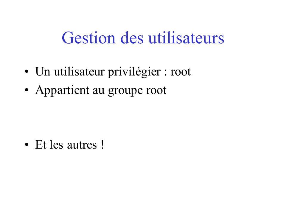 Gestion des utilisateurs Un utilisateur privilégier : root Appartient au groupe root Et les autres !
