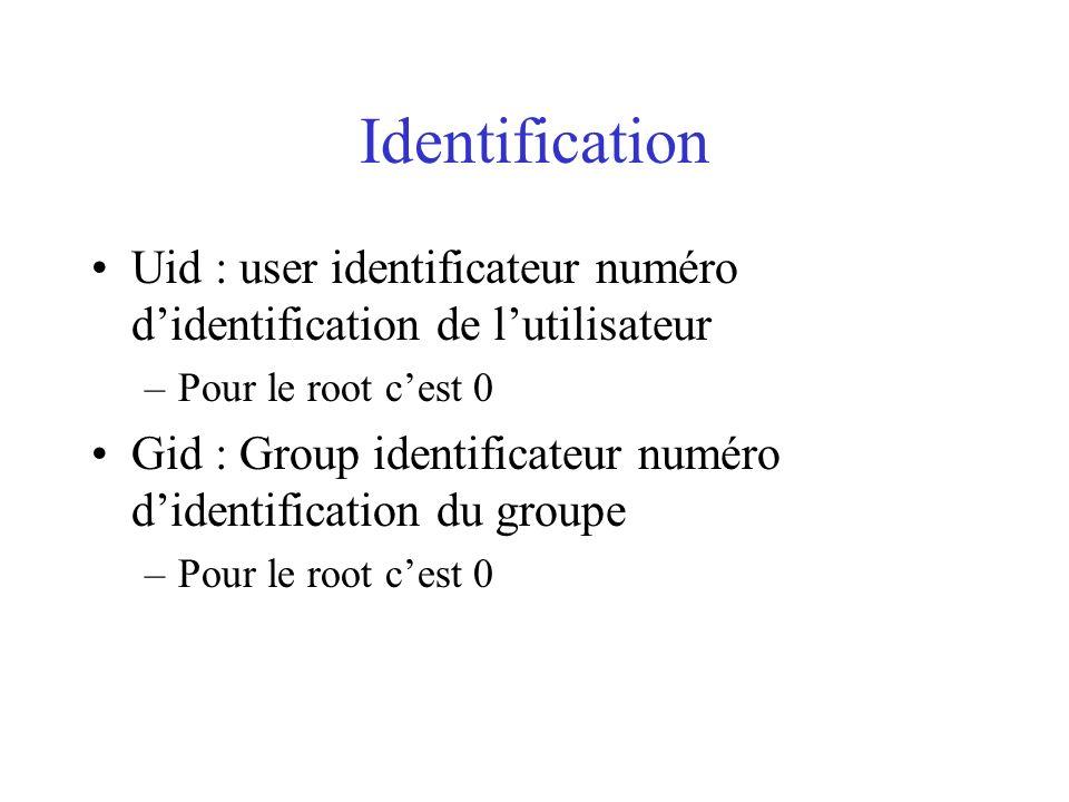 Identification Uid : user identificateur numéro didentification de lutilisateur –Pour le root cest 0 Gid : Group identificateur numéro didentification