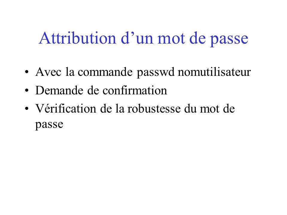 Attribution dun mot de passe Avec la commande passwd nomutilisateur Demande de confirmation Vérification de la robustesse du mot de passe