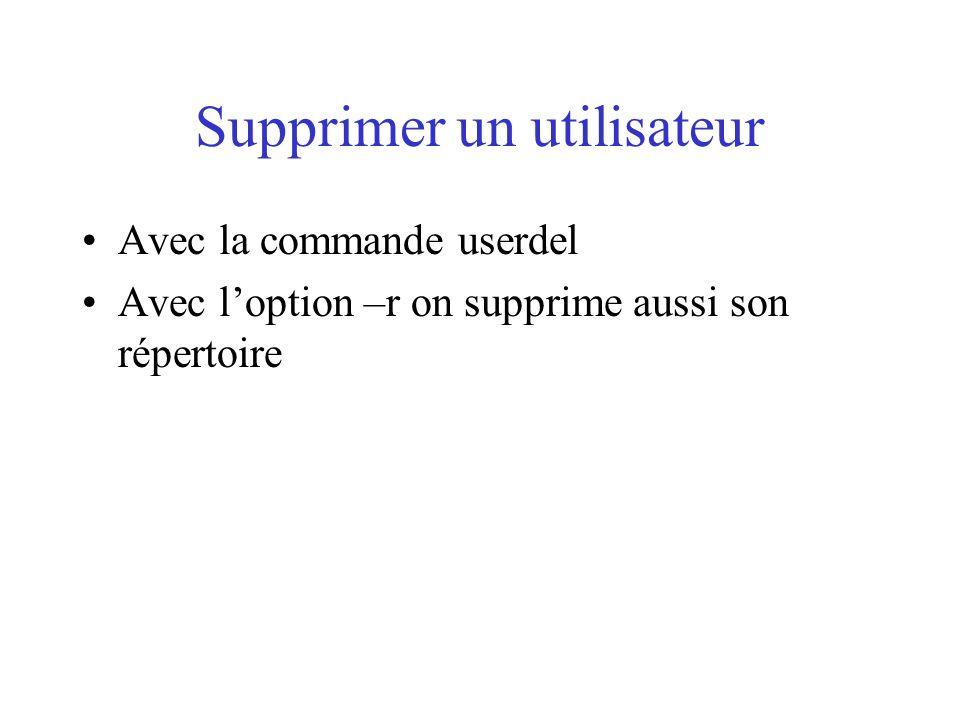 Supprimer un utilisateur Avec la commande userdel Avec loption –r on supprime aussi son répertoire